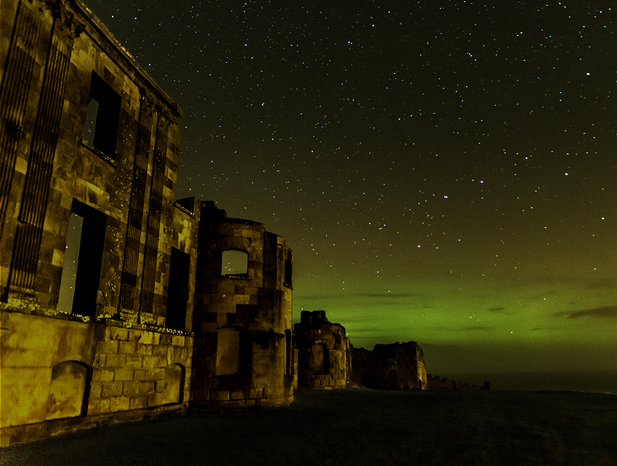 Aurora at Downhill ruins – my first one!
