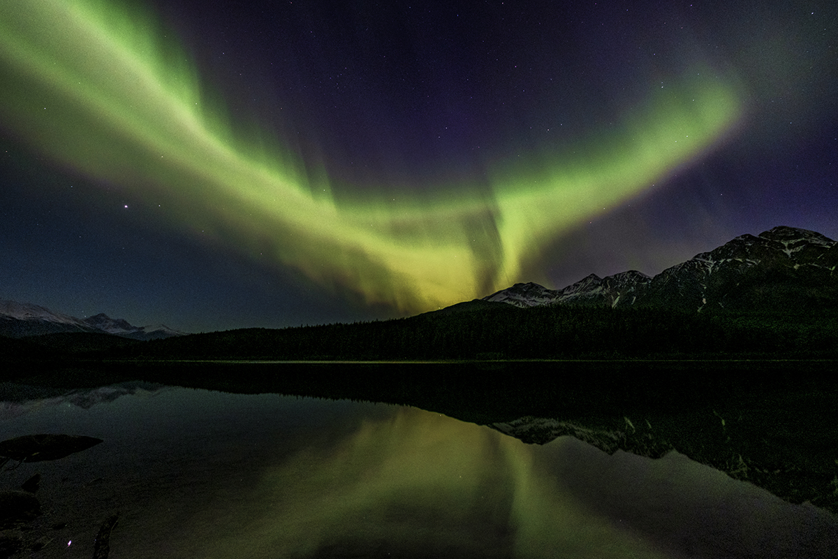 Aurora at Pyramid Lake, Jasper, Canada