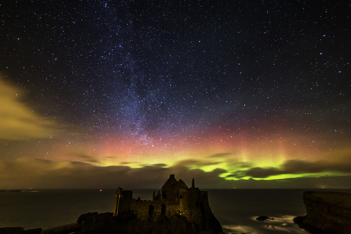 Milky Way and Aurora at Dunluce Castle